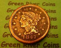 1847  U S Braided Hair Large  Cent   #47        (1839-1857)