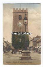 tq1437 - Medieval St. Leonard's/Clock Tower, in Newton Market  Square - postcard