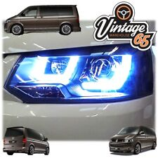 VW T5.1 TRANSPORTER 10>15 BLACK R8 DRL LED DEVIL EYE PROJECTOR HEAD LIGHTS LAMPS
