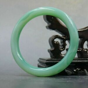 Natural Light Green CHALCEDONY Bangle Bracelet with Certification