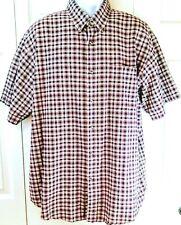 Cherokee Mens XL Shirt Button Down Short Sleeve Plaid Checks Beige Red Cotton