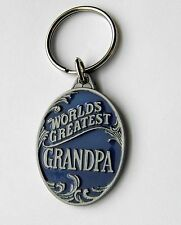 WORLDS GREATEST GRANDPA PEWTER AND ENAMEL KEY CHAIN KEY RING 1.5 INCHES