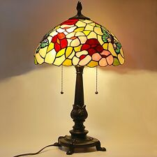 "Tiffany Style Stained Glass Table Lamp Victorian 2-Light 14"" Shade 22"" Height"