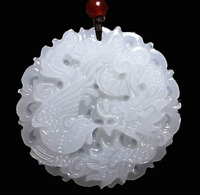 Natural White Jade Dragon phoenix Pendant Necklace Charm Jewelry Lucky Amulet