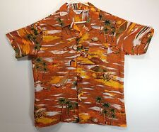 "Hawaiian Aloha Style Shirt XL 47"" Romani Collection - Browns orange scenic"