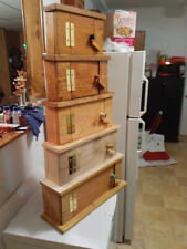 Handmade Five door stacked Storage Cabinet,Table Top,multi-stained,made to order