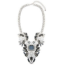 Silver Bib Necklace Jewel Geometric Collar White Rare Chunky | FREE P&P 50% OFF