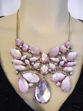 $24 Nordstrom Supersize Bib Statement Pink Rhinestone Necklace Goldtone **AS-IS*
