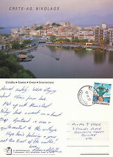 1990's AERIAL VIEW OVER NIKOLAOS CRETE GREECE COLOUR POSTCARD
