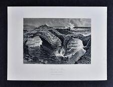 1878 Picturesque Print - Rocks at Ross near Kilkee Ireland - Seascape Sheep