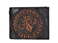 Affliction Men's Embossed Distressed Leather Bifold Wallet Brown