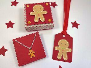 Gingerbread Man Necklace, Gift Box, Stocking Filler, Secret Santa, Christmas Eve