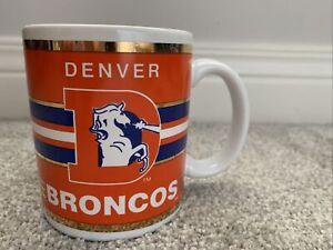 Vintage NFL Denver Broncos Coffee Mug Cup Retro Helmet Logo Gold Trim