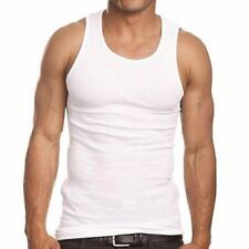 JMR Men's White 100% Cotton Ribbed Tank Tops A- Shirts, 6-pack