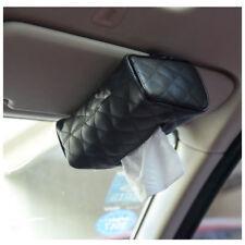 Auto Car Sun Visor Faux Leather Tissue Box Paper Towel Napkin Case Cover Black
