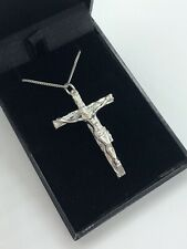 LARGE CRUCIFIX CROSS  NECKLACE PENDANT + CHAIN ADULT SOLID SILVER MENS LADIES