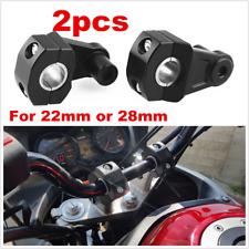 "2x 22mm 7/8"" CNC Motorcycle Handlebar Lift Mount Holders Clamp Black Universal"