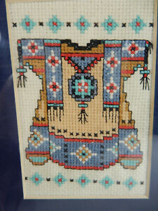 Vintage Native American Needle Point Matted & Framed