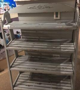 Bookshelf Chic Lydia Shabby Pale Grey and Chicken Wire Bookshelf 38.5*15*54.75