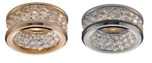 Spot light Crystal Down light Flush 3 Levels Of Crystal Beads Chrome / Gold GU10
