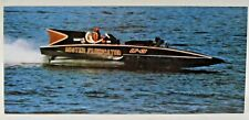 autographed Graham Heath MR. FABRICATOR large postcard hydroplane BOAT racing b1
