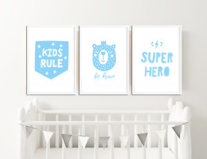 Boys Blue Nursery Prints / Baby Room Decor / Pictures for Childrens Bedroom