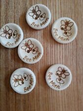 6 High Quality Bee mine engraved Wooden Buttons