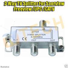 3 Way TV Saorview Freeview Splitter CATV 5-1000 Mhz Passive