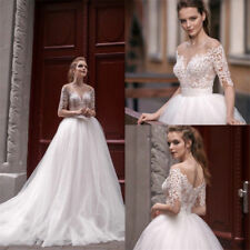 A Line Wedding Dress Plus Size Empire Scoop Neck Half Sleeve Lace Applique Tulle