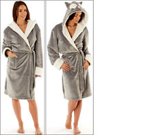 Ladies Womens Animal Hooded Robe Dressing Gown Winter Warm Christmas  8 - 22