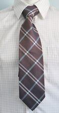 ERMENEGILDO ZEGNA Brown Plaids 100% Silk 59 Inches Long Men's Necktie