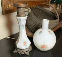 Hand Painted Porcelain Table Lamp w/ Blown Glass Ball Chimney Shade Roses 1940's