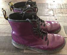 DOC MARTENS Purple Patent Leather Delaney 8 eye boots size 5 Women's US