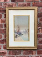 C1880 Signed French W/C By Louis Etienne Timmermans Ship At Port Dieppe France