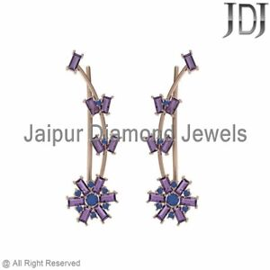14k Rose Gold Purple Amethyst Sapphire Baguette Womens Ear Cuff Earrings Jewelry