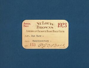 Rare 1923 ST. LOUIS BROWNS Baseball SEASON PASS - JOE CARR Find BABE RUTH 7 HRs