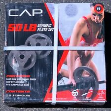 CAP 50 lb Olympic Weight Set Pair (2) 25 lb Plates Cast Iron In Hand Ships Today