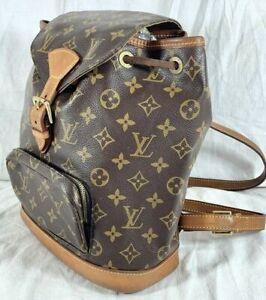 2004 LOUIS VUITTON Montsouris MM Brown Monogram Drawstring Backpack Bag