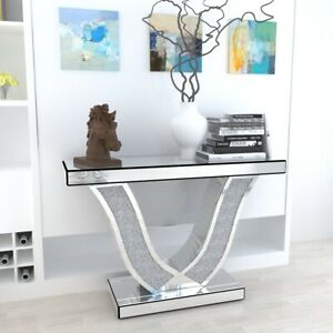 V-Silver Diamond Crush Crystal Mirrored Shaped Console Table Hallway Table Home