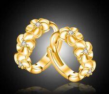 18K White Gold GF Fashion Flowers Round Hoop Huggie Earrings Rhinestone CRYSTAL