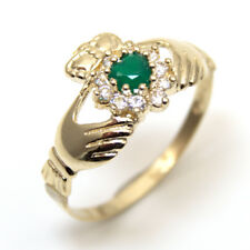 Claddagh Ring with Green Agate and Diamond Unique Heart Ring 9ct Gold