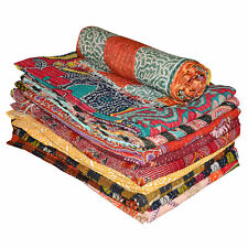 Indian Kantha Quilt Blanket Cotton Handmade Bed Spread Twin Size Multi-Colored