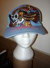DON ED HARDY BLUE TRUCKER HAT CAP SKULL NEW YORK CITY EAGLE CHRISTIAN AUDIGIER