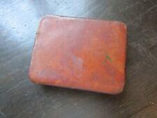 Vintage Brown Leather Covered Metal Cigarette Case