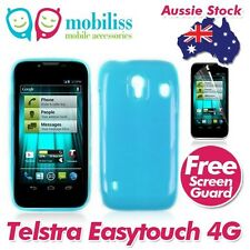 2XTelstra EasyTouch 4G T82 blue Soft TPU Gel Jelly Case Cover + Screen Protector