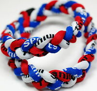 "SALE 20"" 3 Rope Titanium Twist Sport Necklace Red White Blue Tornado Baseball"