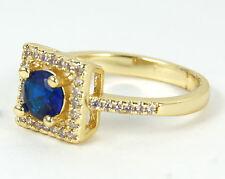 Para mujer chapado en oro anillo de cristal azul tamaño de Reino Unido o