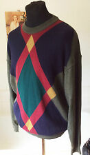 """vintage St. Michael pure new lambswool olive green patterned crew neck ~ 42"""" L"""