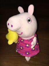 Peppa Pig Cuddly Soft Toy,Sound With Pink Flowers Dress & Teddy Bear.Peppa Plush