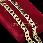 Mens Women 18K YELLOW GOLD FILLED 7MM DIAMOND CUT CURB CHAIN 60CM LONG NECKLACE
